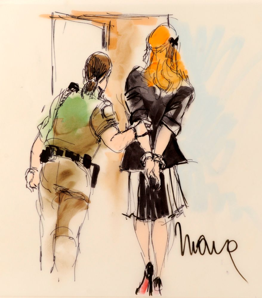A courtroom sketch depicts the Lindsay Lohan hearing at the Beverly Hills Courthouse in Beverly Hills, Calif., on Friday, Sept. 24, 2010. (AP Photo/Mona Shafer Edwards)