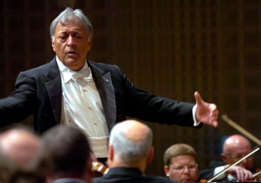 Conductor Zubin Mehta directs the Israel Philharmonic Orchestra during the Lucerne Festival in Lucerne, Switzerland, on Wednesday, Aug. 29, 2007. (AP Photo/Keystone, Sigi Tischler)