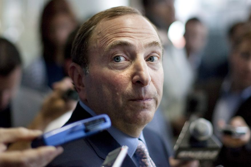 NHL Commissioner Gary Bettman speaks with reporters following talkswith the media following labor talks with the NHLPA in Toronto on Thursday, Aug. 23, 2012. Negotiations continue between the league and the players' union over collective bargaining as both sides try to avoid a potential lockout. (AP Photo/The Canadian Press, Chris Young)