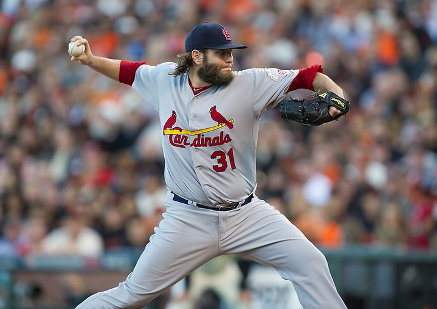 St. Louis Cardinals starting pitcher Lance Lynn (31) delivers during Game 1 of the National League baseball championship series against the San Francisco Giants, Sunday, Oct. 14, 2012, in San Francisco. (AP Photo/The Sacramento Bee, Paul Kitagaki Jr.)