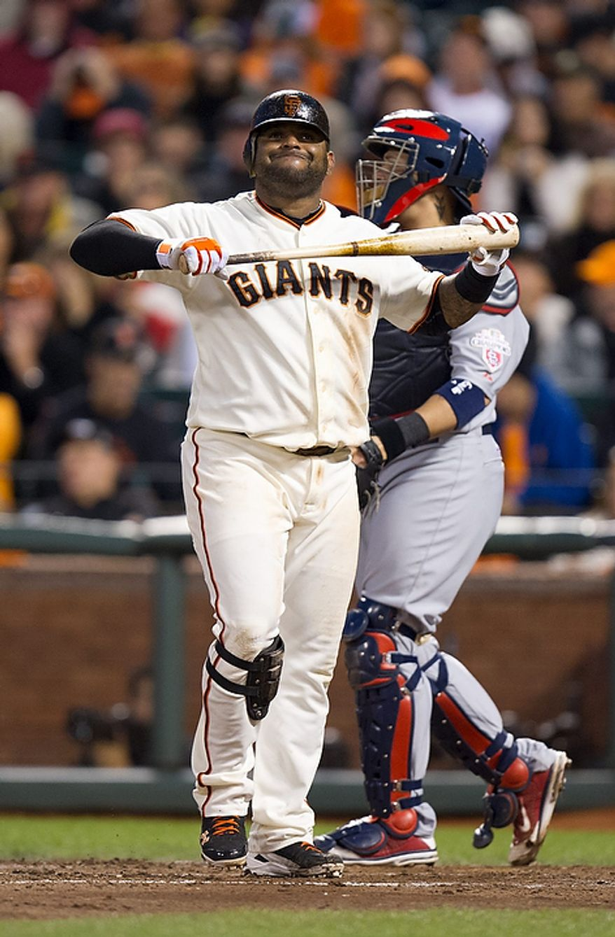 San Francisco Giants' Pablo Sandoval (48) reacts after striking out in the fourth inning  during Game 1 of the National League baseball championship series against the St. Louis Cardinals, Sunday, Oct. 14, 2012, in San Francisco. (AP Photo/The Sacramento Bee, Paul Kitagaki Jr.)