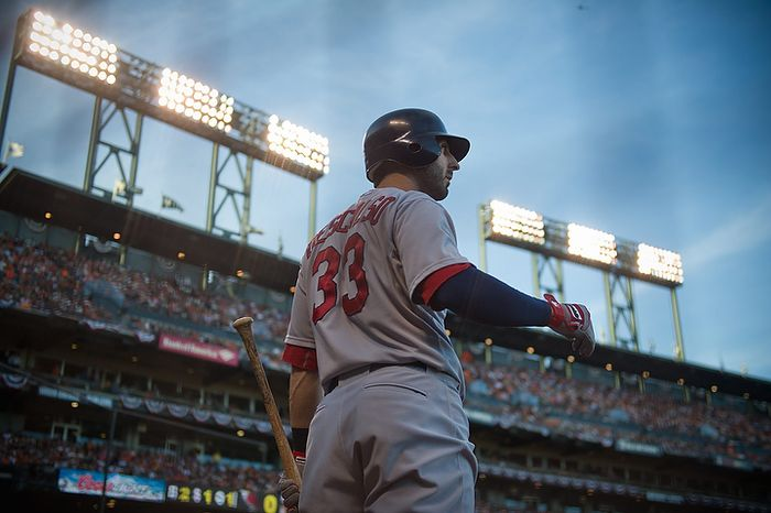 St. Louis Cardinals' Daniel Descalso (33) waits for a chance to bat during Game 1 of the National League baseball championship series with the San Francisco Giants, Sunday, Oct. 14, 2012, in San Francisco. (AP Photo/The Sacramento Bee, Jose Luis Villegas)