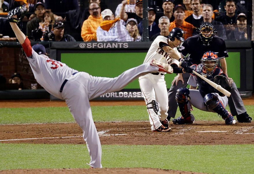 San Francisco Giants' Gregor Blanco hits a three-run triple off St. Louis Cardinals starting pitcher Lance Lynn (31) during the fourth inning of Game 1 of baseball's National League championship series Sunday, Oct. 14, 2012, in San Francisco. (AP Photo/Mark Humphrey)