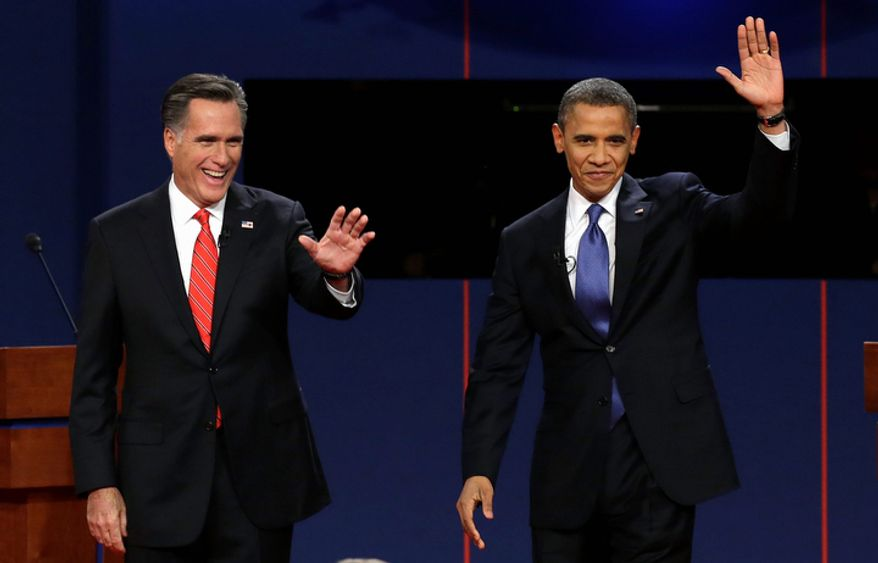 Republican presidential candidate Mitt Romney and President Obama wave to the audience during the first presidential debate at the University of Denver in Denver on Wednesday, Oct. 3, 2012. The next debate, town-hall style, will bring Mr. Obama and Mr. Romney to Hofstra University on New York's Long Island on Tuesday, Oct. 16, 2012. (AP Photo/Charlie Neibergall)