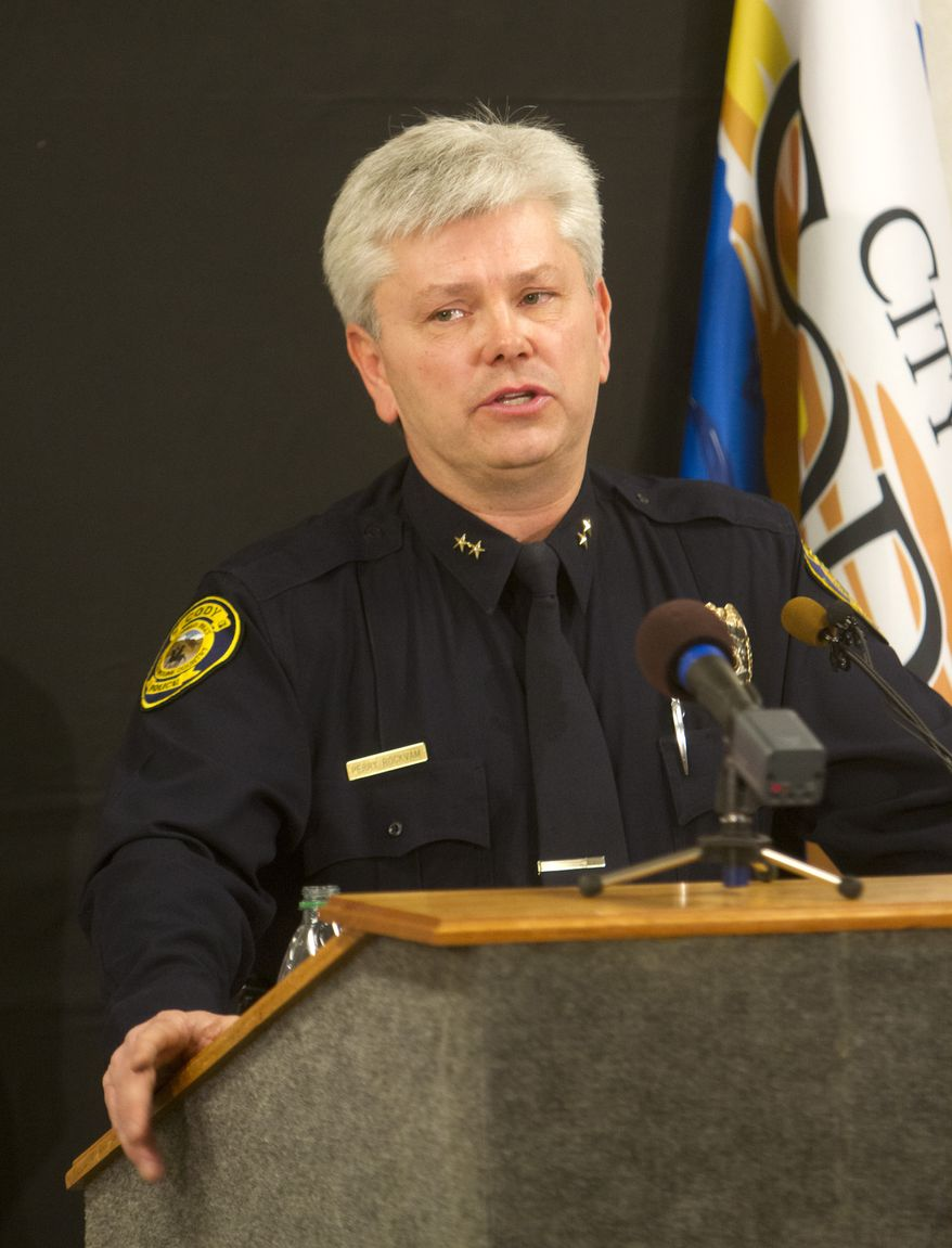 Cody Police Chief Perry Rockvam confirms during a press conference on Oct. 15, 2012 at City Hall in Cody, Wyo., that a 39-year-old Montana man was arrested in Belgrade, Mont., two days prior in connection with the kidnapping of an 11-year-old Cody girl. (Associated Press/The Cody Enterprise)