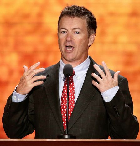 Sen. Rand Paul, R-Ky., addresses the Republican National Convention in Tampa, Fla., on Wednesday, Aug. 29, 2012. (AP Photo/J. Scott Applewhite)