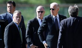 Vice President Joseph R. Biden arrives at Har Zion Temple in Penn Valley, Pa., on Tuesday to attend the funeral of former Sen. Arlen Specter of Pennsylvania. (Associated Press)