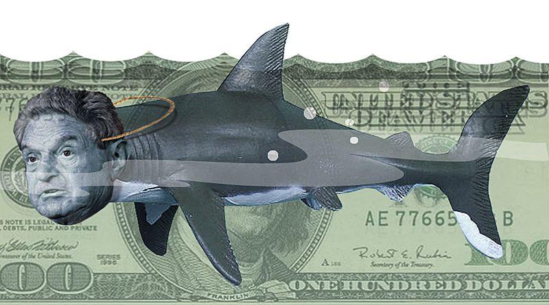 Illustration Soros Money Shark by Alexander Hunter The Washington Times