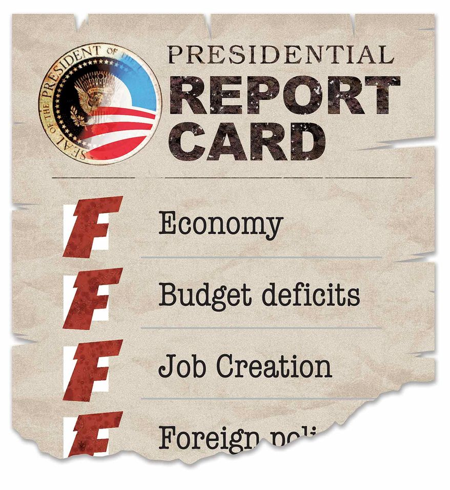 Illustration Presidential Report Card by Greg Groesch for The Washington Times