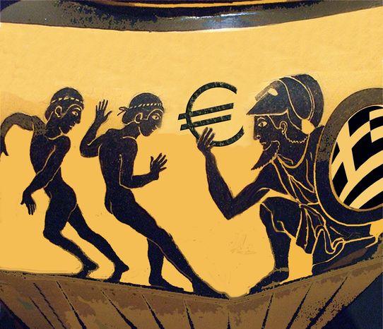 Illustration EU Greek by John Camejo for The Washington Times