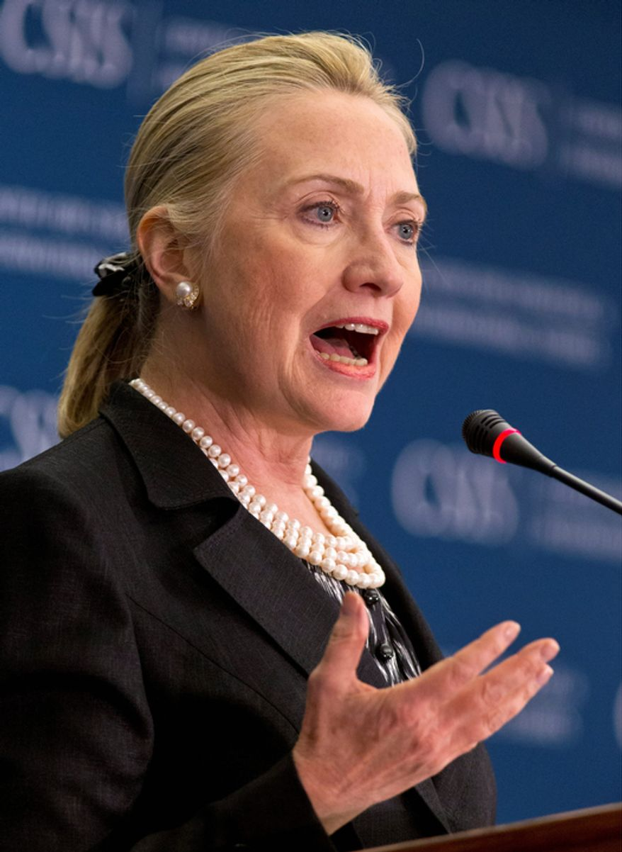 **FILE** Secretary of State Hillary Rodham Clinton speaks Oct. 12, 2012, at the Center for Strategic and International Studies in Washington. (Associated Press)