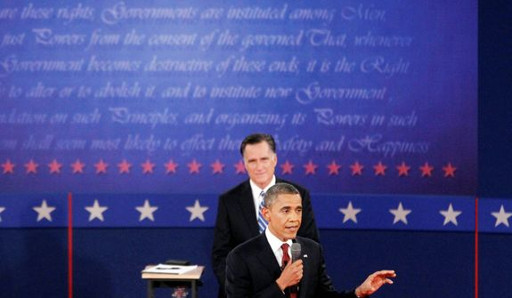 President Barack Obama, foreground, and Republican presidential nominee Mitt Romney participate in the second presidential debate.  (AP Photo/Mary Altaffer)