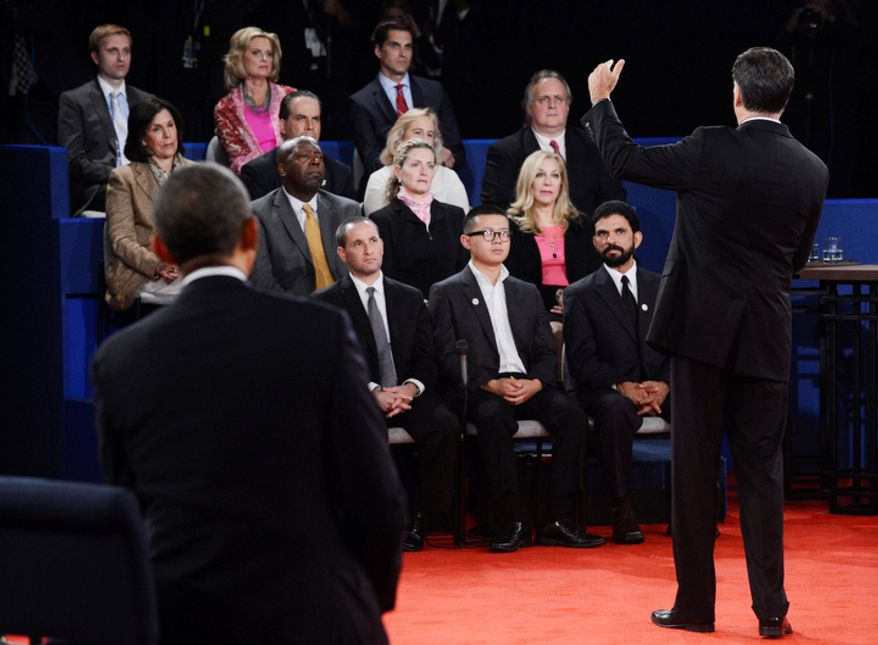 Ann Romney, top row, listens to her husband Republican presidential nominee Mitt Romney as he addresses members of the audience during the second presidential debate at Hofstra University, Tuesday, Oct. 16, 2012. (AP Photo/Pool-Michael Reynolds)