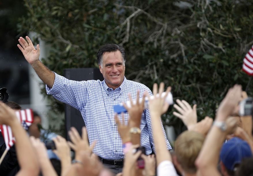 Republican presidential candidate Mitt Romney waves following a campaign rally on Oct. 7, 2012 in Port St. Lucie, Fla. (Associated Press)