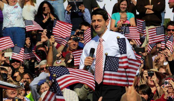 Republican vice presidential candidate, Rep. Paul Ryan, R-Wis., speaks at a rally at Automated Conveyor Systems in Lynchburg, Va., Tuesday, Oct. 16, 2012. (AP Photo/Steve Helber)