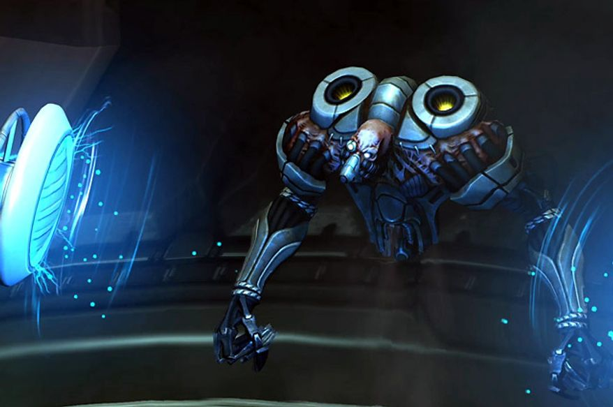 A Floater alien stuck in a containment cell in the video game XCOM: Enemy Unknown.