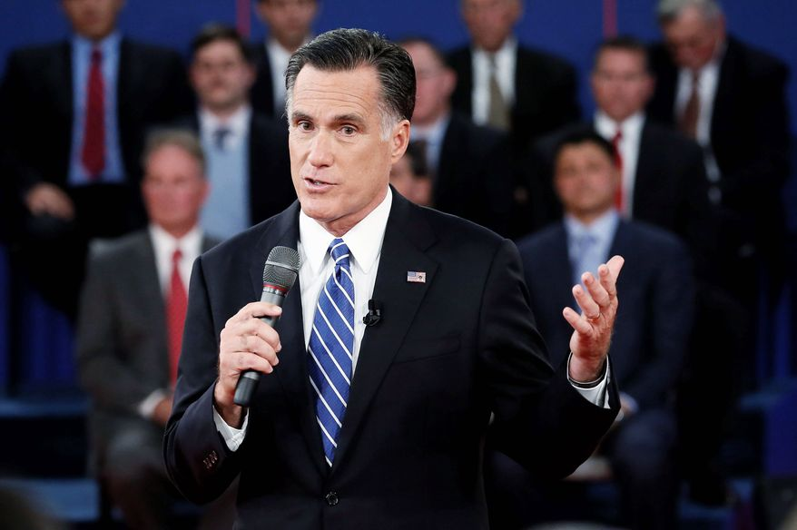 **FILE** Republican presidential nominee Mitt Romney, at the second presidential debate in Hempstead, N.Y. (Associated Press)