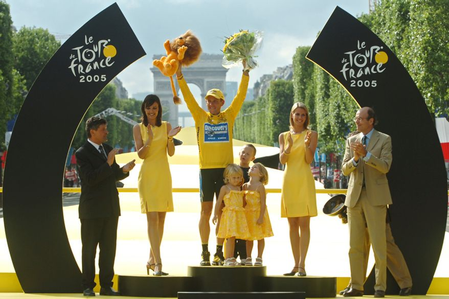 In this July 24, 2005  file photo,  Lance Armstrong, of Austin, Texas, center, waves from the podium as his son Luke, rear right of Armstrong, his twin daughters Grace, center right, and Isabelle, center left, look on, after winning his seventh straight Tour de France cycling race, during ceremonies on the Champs-Elysees avenue in Paris, after the 21st and final stage of the race between Corbeil-Essonnes, south of Paris, and the French capital. For Armstrong, who famously insisted he was the world's most-tested athlete during his glory years but who has never tested positive for cheating, the welcome back to a still largely-suspicous France may not be warm. The Arc de Triomphe monument is seen behind. (AP Photo/Bernard Papon/Pool, file)