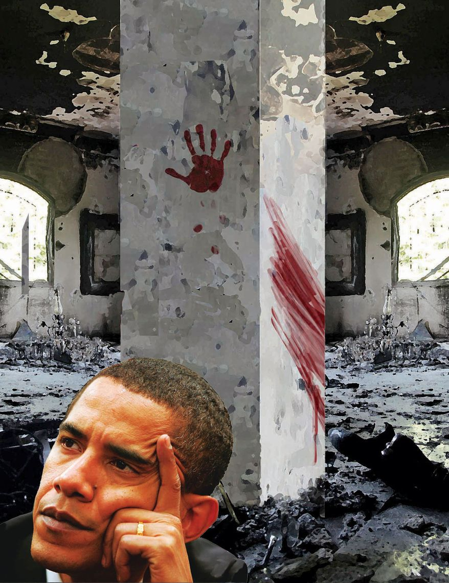 Illustration Obama's Libya by Alexander Hunter for The Washington Times