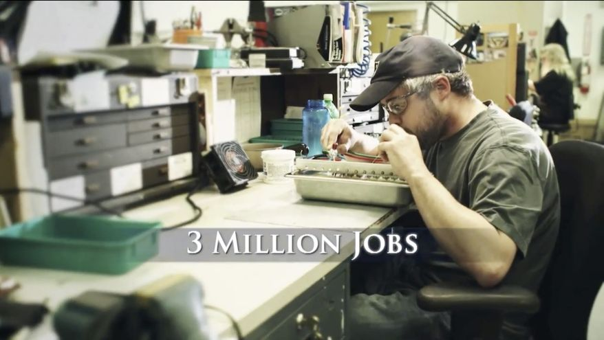 """This image provided by Romney For President, Inc. shows a still frame made from a video ad entitled """"12 Million Jobs."""" One analysis estimates the campaigns and independent groups will have spent about $1.1 billion on television advertising this year, with $750 million already allocated in states likely to determine the outcome of the presidential contest. Romney primarily is running a spot in which he promises to boost the economy through manufacturing, energy and cracking down on China. (Associated Press)"""