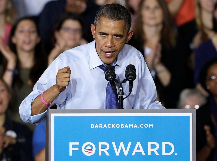 President Obama speaks Oct. 17, 2012, at a grassroots event at Cornell College in Mount Vernon, Iowa. (Associated Press)