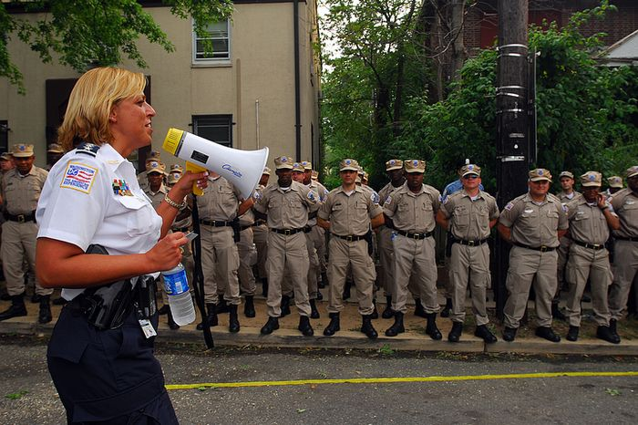 Chief of Police Cathy Lanier addresses new police academy recruits at the National Night Out celebration in Ward 8 on Tuesday, Aug. 7, 2007. The chief and the mayor started their evening out in Ward 8 and planned to visit a number of National Night Out celebrations in the city. (Barbara L. Salisbury / The Washington Times)