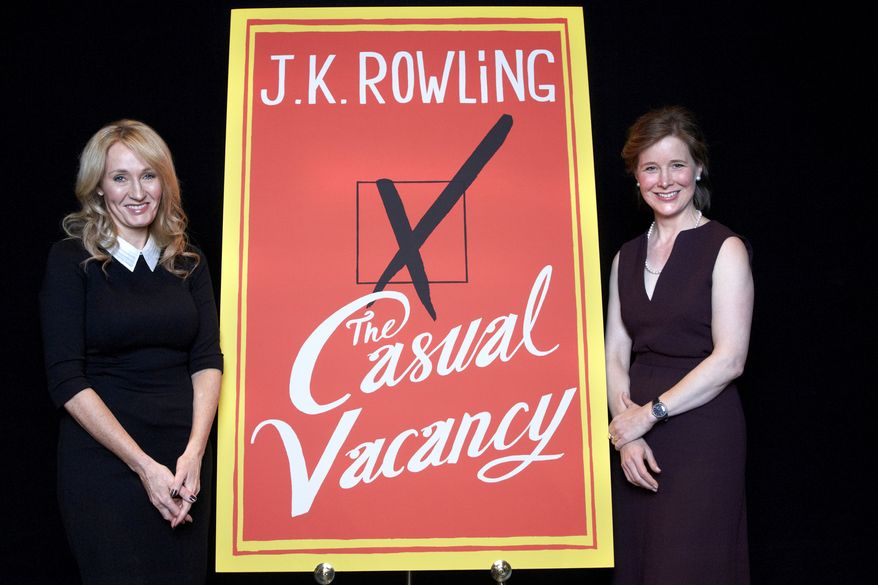 """Harry Potter"" author J.K. Rowling (left) and fellow writer Ann Patchett promote Miss Rowling's latest book, ""The Casual Vacancy,"" at Lincoln Center's David H. Koch Theater in New York on Tuesday, Oct. 16, 2012. Miss Rowling spoke for just more than an hour before a capacity crowd in her sole U.S. public appearance to promote her first novel for grown-ups. (Dan Hallman/Invision/AP)"