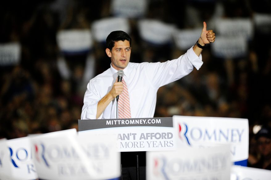 **FILE** Republican vice presidential candidate Paul Ryan visits the Fredericksburg Expo and Conference Center in Fredericksburg, Va., on Oct. 16, 2012. (Associated Press/The Free Lance-Star)