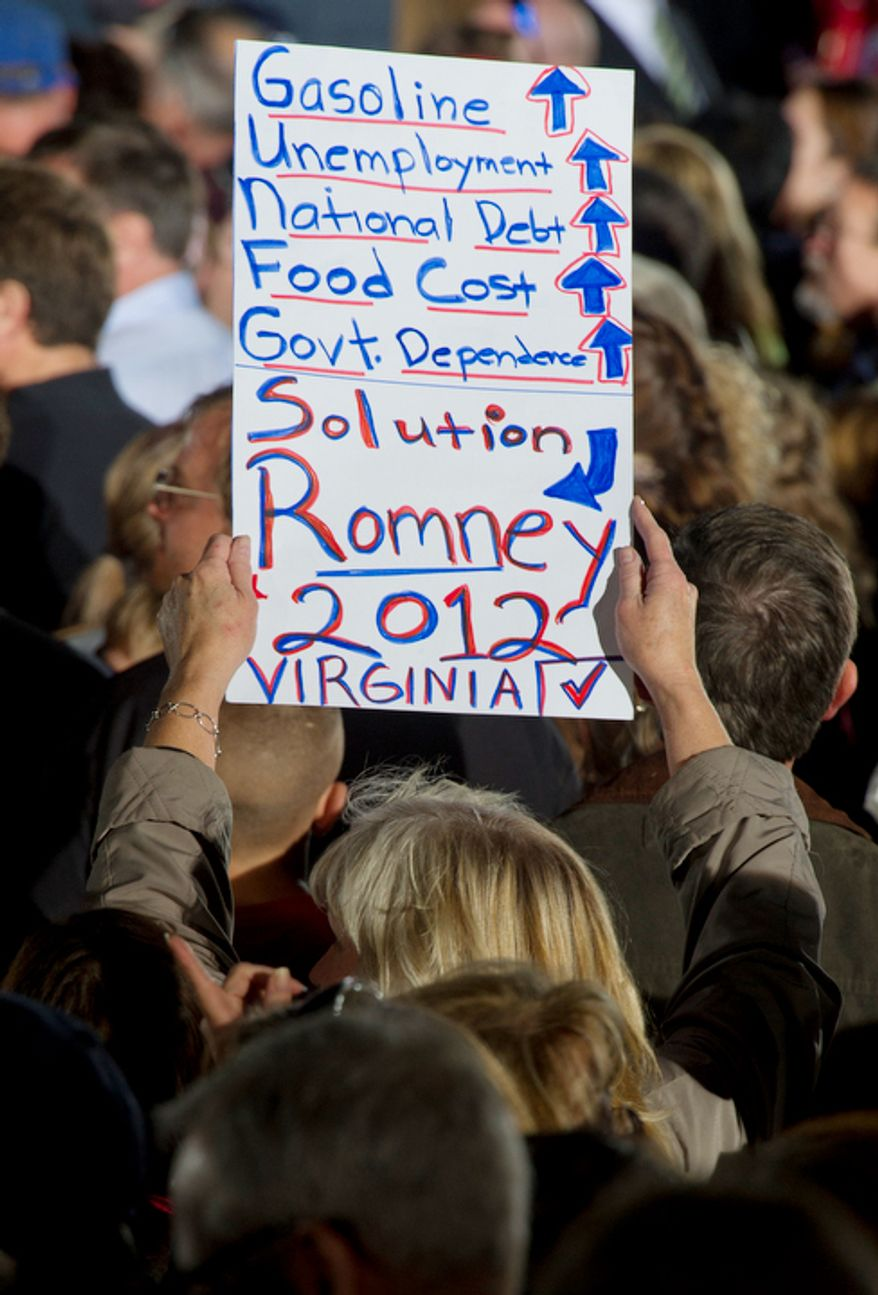 A woman holds up a sign supporting Mitt Romney during a rally at Ida Lee Park in Leesburg, Va. on Wednesday, Oct. 17, 2012. (Barbara L. Salisbury/The Washington Times)