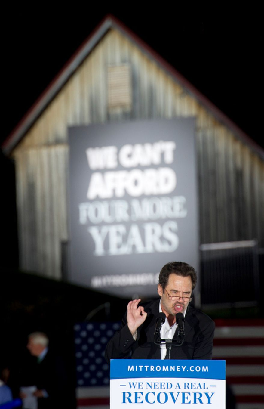"""He is a good man,"" said comedian Dennis Miller about GOP presidential candidate Mitt Romney during a rally at Ida Lee Park in Leesburg, Va. on Wednesday, Oct. 17, 2012. (Barbara L. Salisbury/The Washington Times)"
