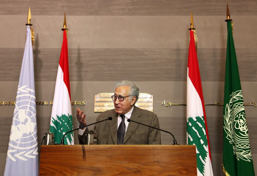 Lakhdar Brahimi, U.N. Arab League deputy to Syria, speaks Oct. 17, 2012, during a press conference at the government palace in Beirut after meeting Lebanese Prime Minister Najib Mikati. (Associated Press)