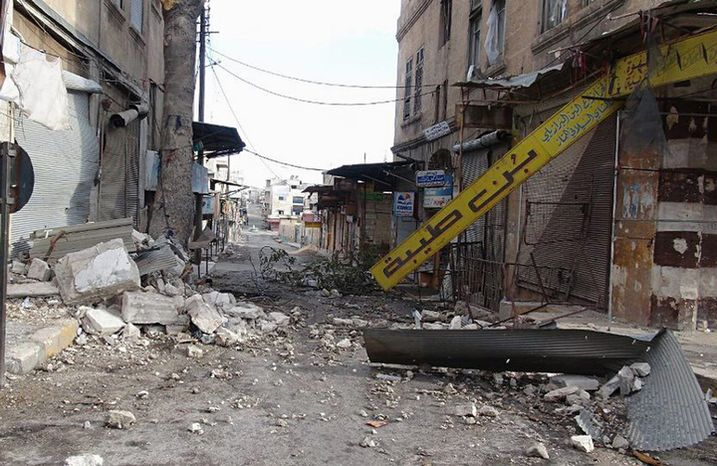 **FILE** A street damaged by shelling of forces loyal to Syria's President Bashar Assad is seen here Oct. 13, 2012, in Maarat al-Numan town, in the Idlib province of northern Syria. (Associated Press/Idlib News Network ENN)