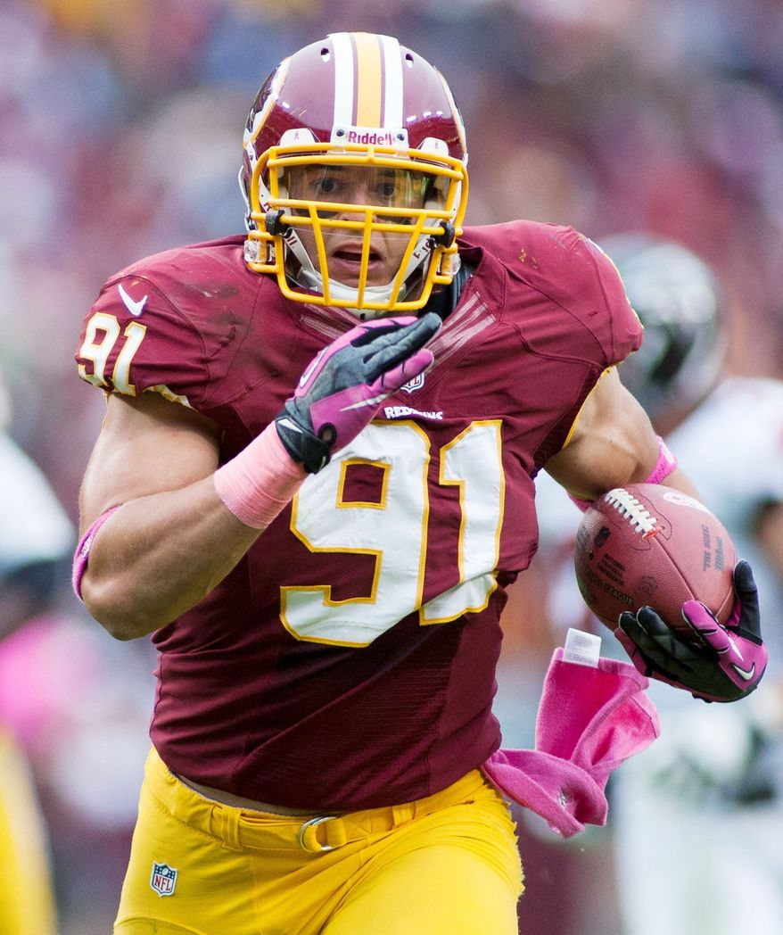 Outside linebacker Ryan Kerrigan has an interception return for a touchdown in each of his first two seasons.