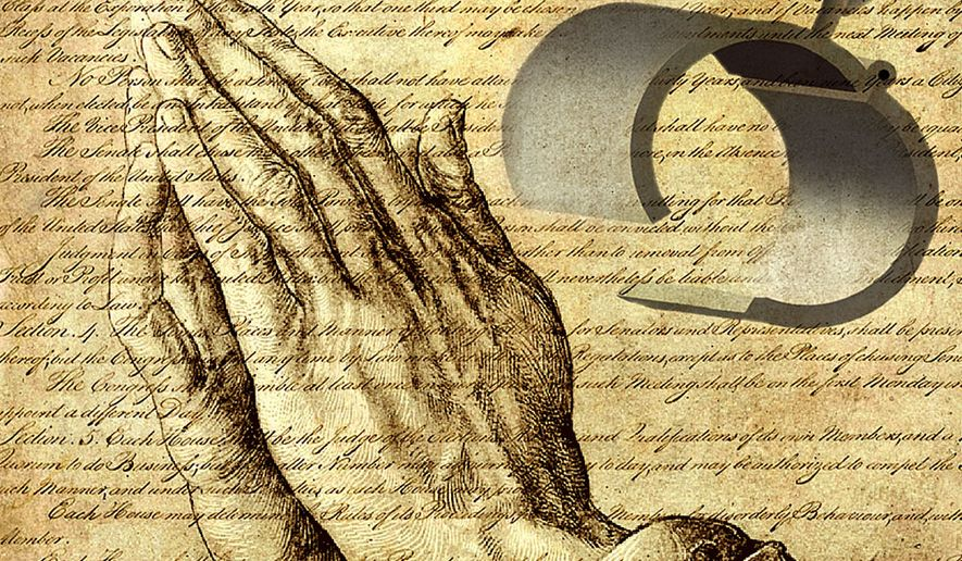 Illustration Religious Freedom by Alexander Hunter for The Washington Times