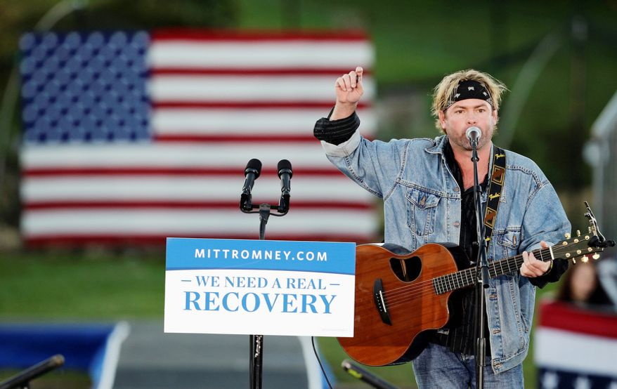 Country music singer Andy Griggs performs before Republican presidential candidate, former Massachusetts Gov. Mitt Romney speaks at a campaign event at Ida Lee Park Wednesday, Oct. 17, 2012, in Leesburg, Va. (AP Photo/Alex Brandon)