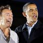 This Nov. 2, 2008, file photo shows musician Bruce Springsteen, left, with then-Democratic presidential candidate Sen. Barack Obama, D-Ill., at a rally at the Cleveland Mall in Cleveland, Ohio. (AP Photo/Alex Brandon, File)