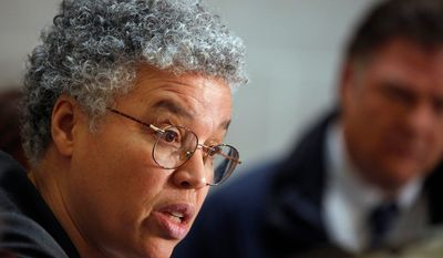 In this Jan. 26, 2012 file photo, Cook County Board President Toni Preckwinkle speaks at a news conference in Chicago. On Thursday, Oct. 18, 2012, Preckwinkle is set to propose a tax on bullets. She will propose five cents a bullet and a dollar for a box of 20 of them and 25 bucks per firearm. (AP Photo/M. Spencer Green, File)