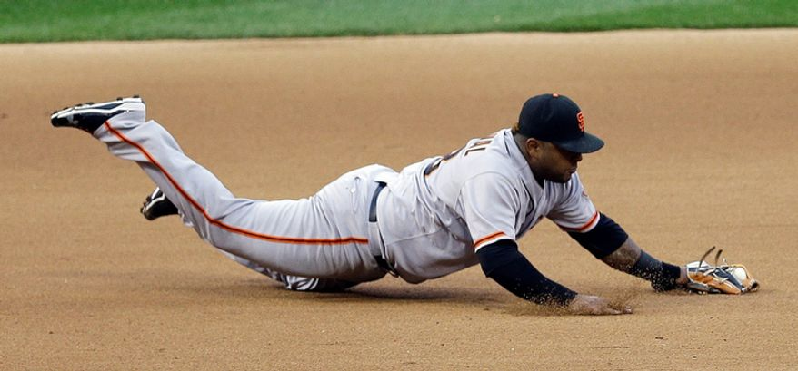 San Francisco Giants third baseman Pablo Sandoval (48) dives for a grounder hit by by St. Louis Cardinals' Kyle Lohse (26) during the fifth inning of Game 3 of baseball's National League championship series, Wednesday, Oct. 17, 2012, in St. Louis. (AP Photo/Patrick Semansky)