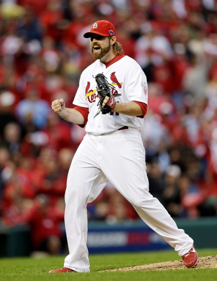 St. Louis Cardinals pitcher Mitchell Boggs reacts after striking out San Francisco Giants' Brandon Belt to end the top of the seventh inning during Game 3 of the National League baseball championship series, Wednesday, Oct. 17, 2012, in St. Louis. (AP Photo/St. Louis Post-Dispatch, Chris Lee) EDWARDSVILLE OUT  ALTON OUT