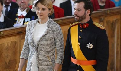 Prince Guillaume of Luxembourg, heir to the grand dukedom, and Countess Stephanie de Lannoy of Belgium arrive for the christening ceremony of Princess Estelle of Sweden in the Royal Chapel in Stockholm on Tuesday, May 22, 2012. (AP Photo/Scanpix/Claudio Bresciani/Pool)