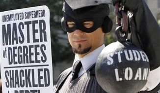 A protestor dramatizes his college loan debt in Washington in 2011. (AP Photo/Jacquelyn Martin, File)