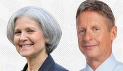Presidential candidates (from left) Gary Johnson of the Libertarian Party, Jill Stein of the Green Party, Virgil Goode of the Constitution Party, and Rocky Anderson of the Justice Party will participate in a debate Tuesday put on by Free & Equal. (Free & Equal)
