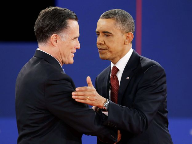 ** FILE ** Mitt Romney and President Obama. (Associated Press)