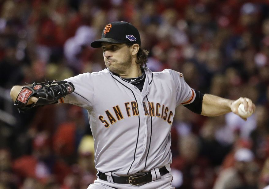 San Francisco Giants starting pitcher Barry Zito throws during the first inning of Game 5 of baseball's National League championship series against the St. Louis Cardinals Friday, Oct. 19, 2012, in St. Louis. (AP Photo/David J. Phillip)