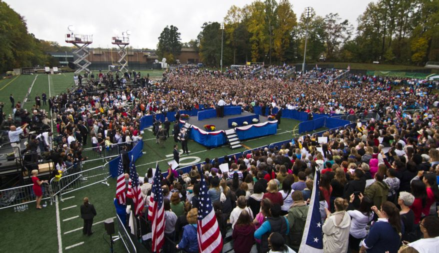 President Obama speaks to supporters Oct. 19, 2012, during a campaign event at George Mason University in Fairfax, Va. (Craig Bisacre/The Washington Times)