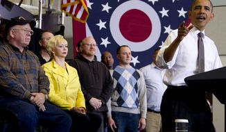 **FILE** President Obama speaks April 18, 2012, at Lorain County Community College in Elyria, Ohio. (Associated Press)