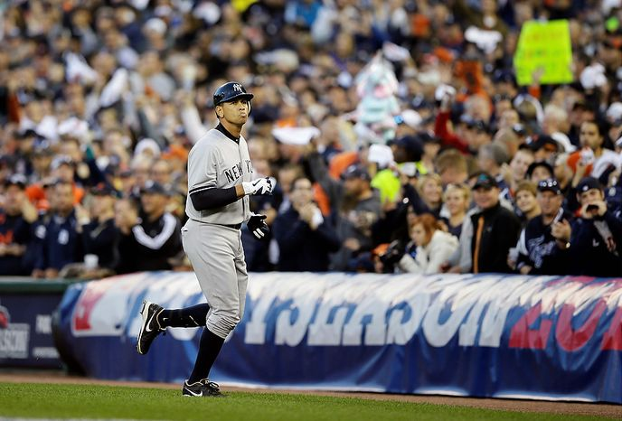 New York Yankees' Alex Rodriguez runs back to the dugout after flying out in the sixth inning of Game 4 of the American League Championship Series against the Detroit Tigers on Oct. 18, 2012, in Detroit. (Associated Press)