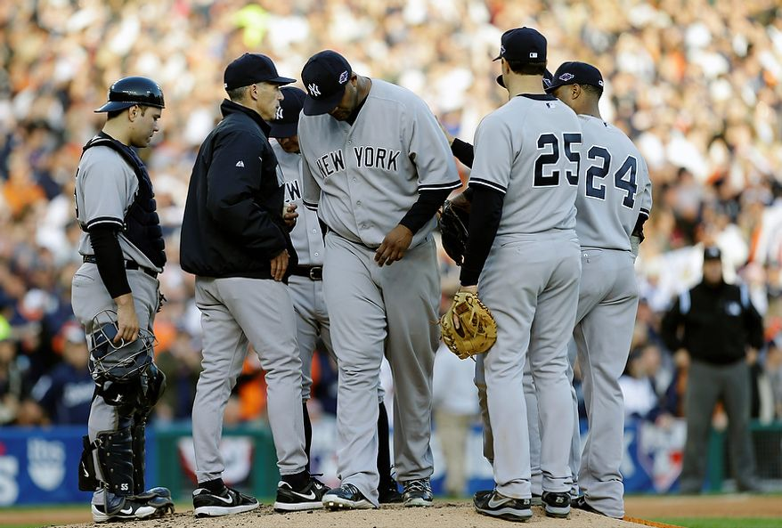 New York Yankees pitcher CC Sabathia is relieved in the fourth inning of Game 4 of the American League Championship Series against the New York Yankees on Oct. 18, 2012, in Detroit. The Tigers won, 8-1, to move on to the World Series. (Associated Press)