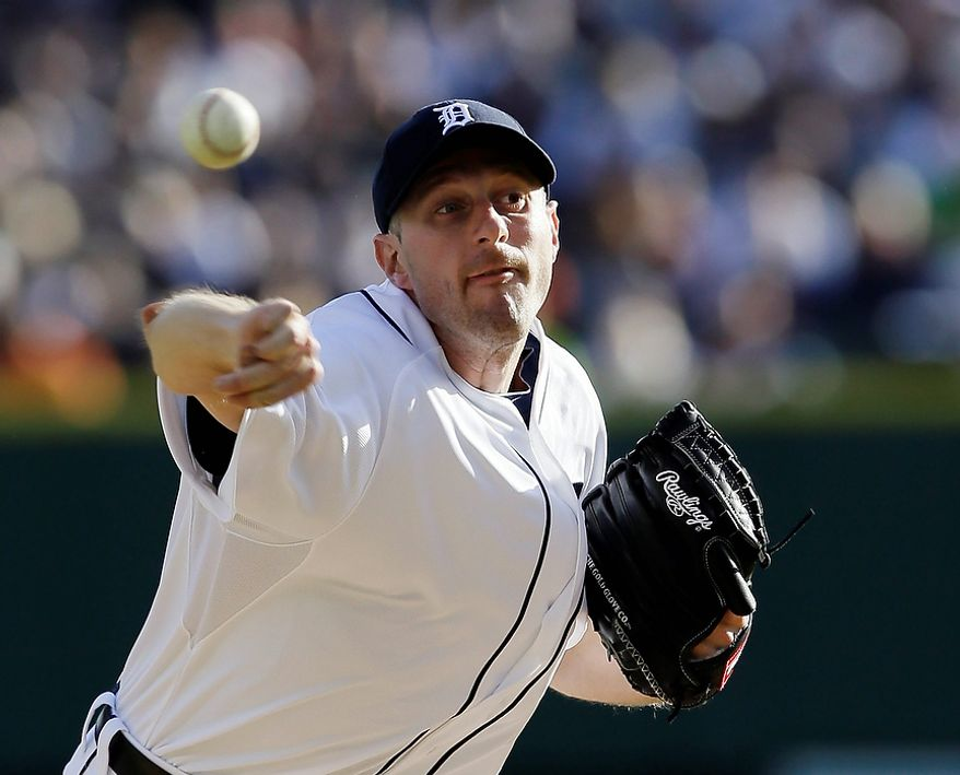 Detroit Tigers' Max Scherzer throws in the first inning during Game 4 of the American League Championship Series against the New York Yankees on Oct. 18, 2012, in Detroit. (Associated Press)