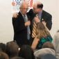 """** FILE ** This image from Thursday evening, Oct. 11, 2012, video provided by a Howard Berman campaign videographer shows Brad Sherman, right, putting his right arm around Berman during a debate at Pierce College in Los Angeles. Sherman seized the shoulder of Berman, brought him toward his chest and shouted, """"You want to get into this?"""" The physical confrontation between the two veteran Democratic House members vying for the same Los Angeles-area congressional seat is the latest example of a campaign that has become increasingly bitter and personal. (AP Photo/Brandon Hall)"""